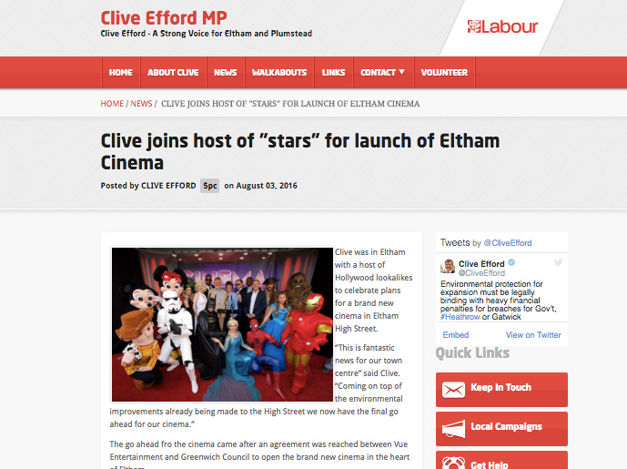 The Eltham cinema stunt was little-covered, but appears in Labour Party publicity in the constituency