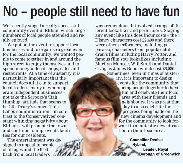 Denise Hyland's response (Greenwich & Lewisham Mercury, 12 September 2016)