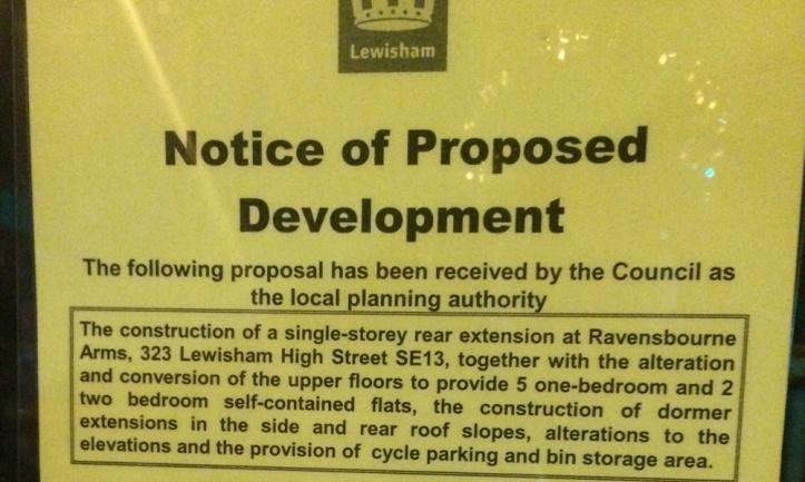 Ravensbourne Arms planning notice