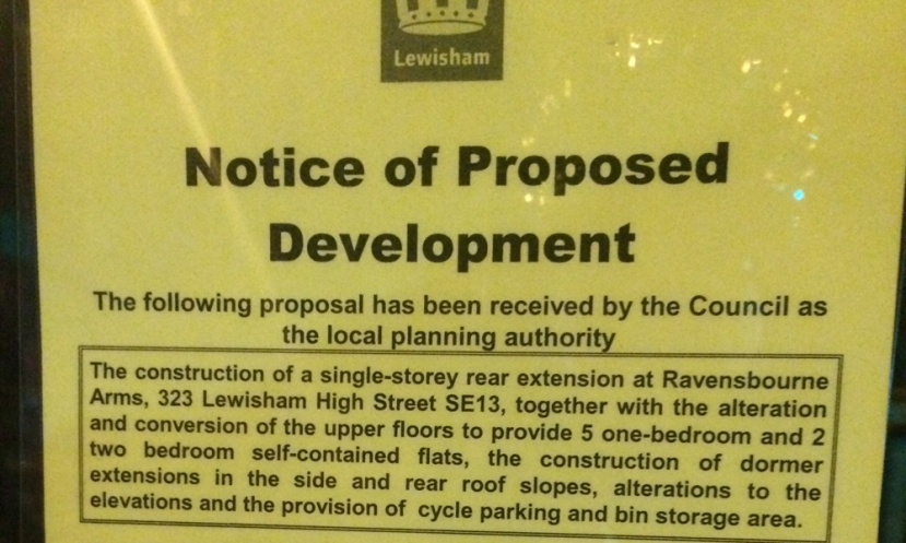 Ravensbourne Arms planning notice