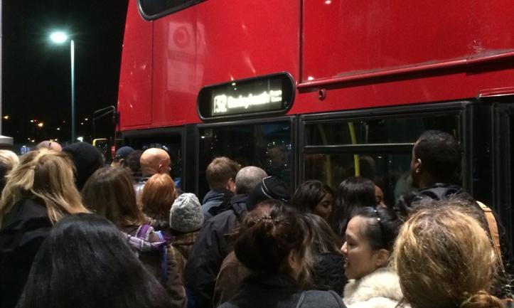 North Greenwich bus station queue