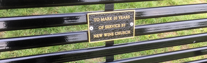 New Wine's park bench