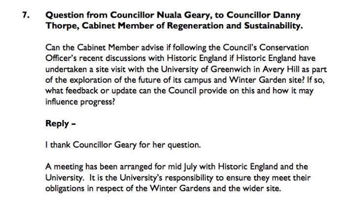Greenwich Council meeting response