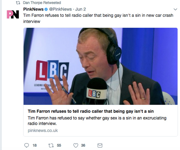 Danny Thorpe retweet of critical Tim Farron story