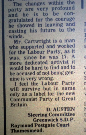 Don Austen letter to the Kentish Independent, March 1981