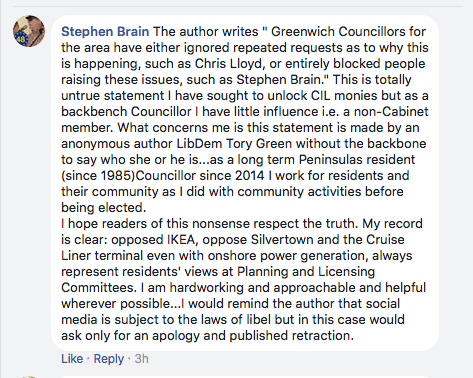 Stephen Brain's Facebook post