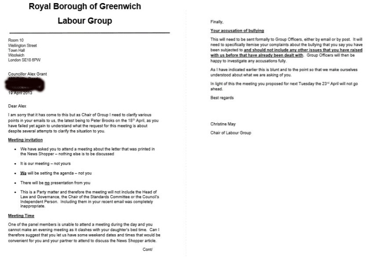 Screengrab of letter