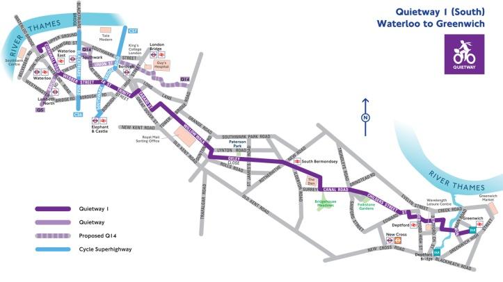 Quietway 1 map