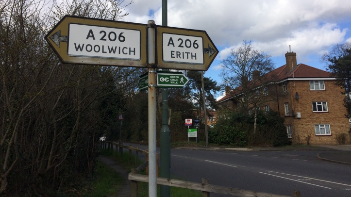Woolwich-Erith sign in Abbey Wood