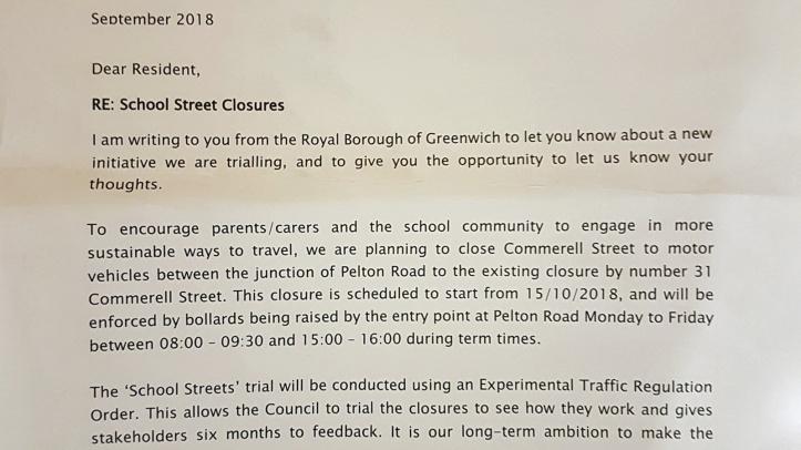 School Streets letter