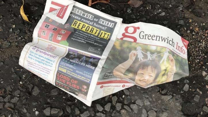 Greenwich Info dumped in a gutter